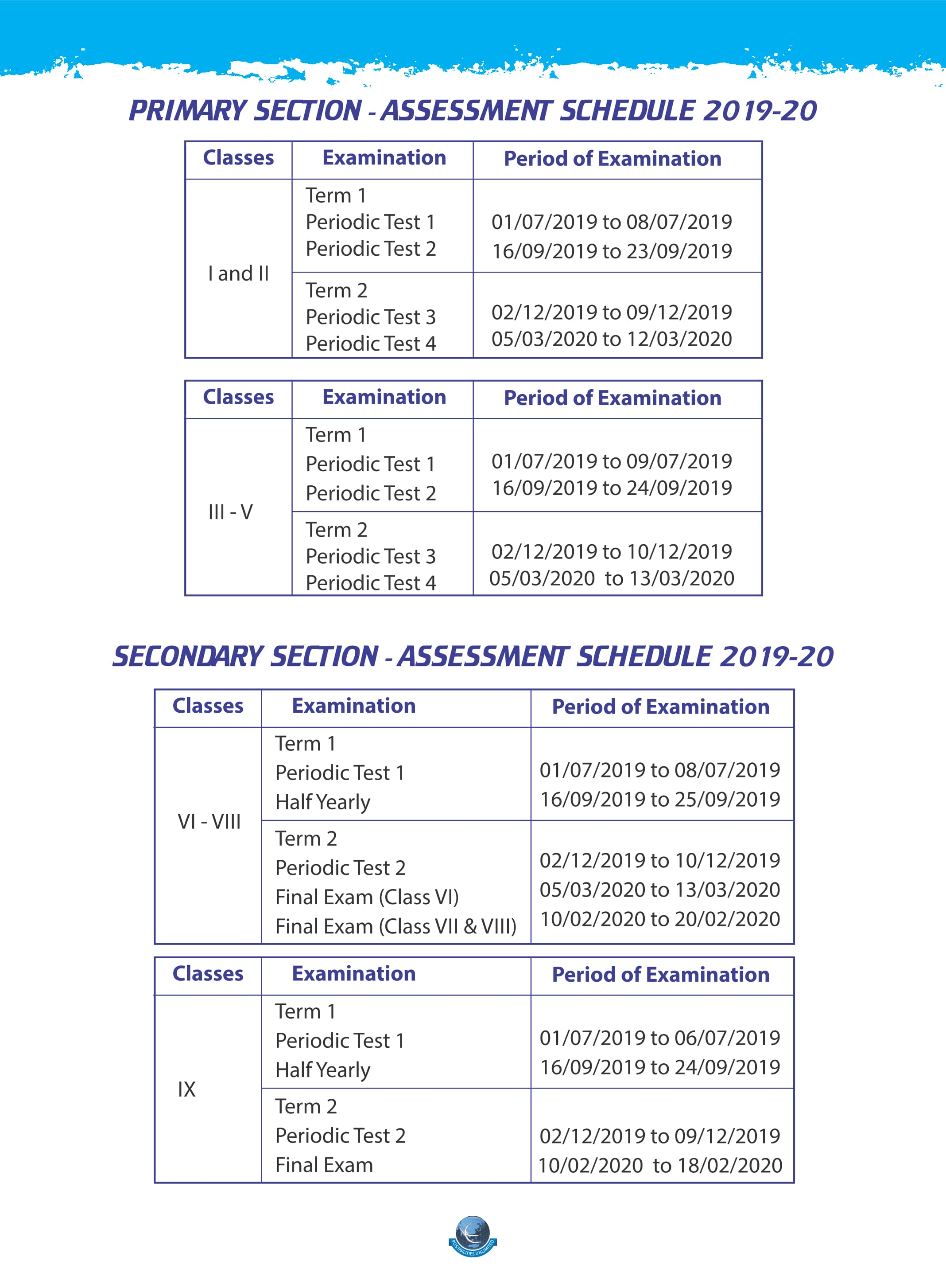 Primary & Secondary Assessment Schedule